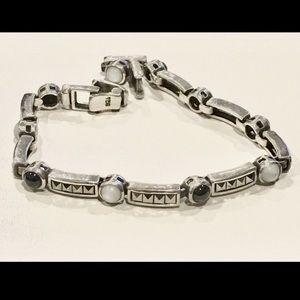 Vintage Marcasite MoP Onyx Silver Bracelet